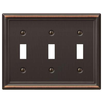 Ascher 3 Gang Toggle Steel Wall Plate - Aged Bronze