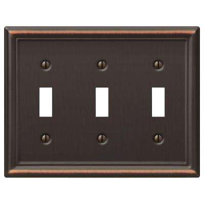 Chelsea 3 Toggle Wall Plate - Aged Bronze