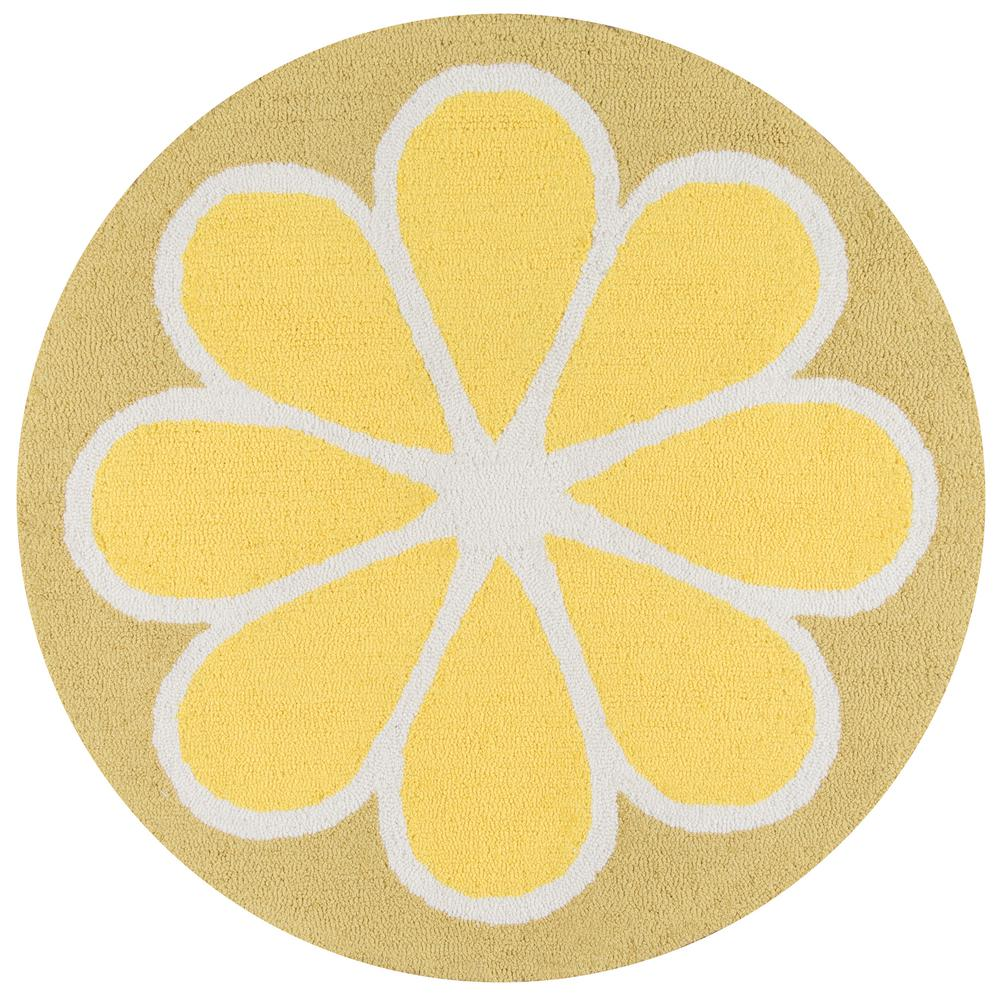 Cucina Lemon 3 ft. x 3 ft. Round Kitchen Mat