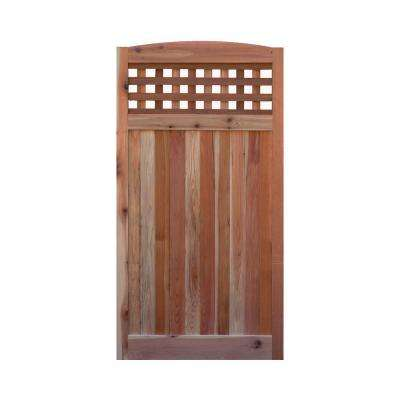 3 ft. x 6 ft. Western Red Cedar Arch Top Checker Lattice Fence Gate