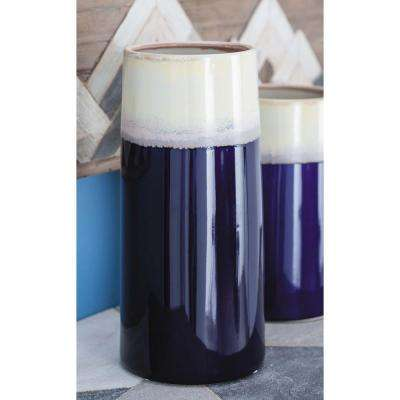 14 in. Contemporary White and Blue Decorative Vase