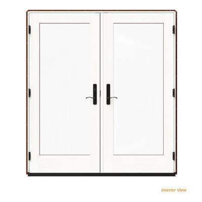 72 in. x 80 in. W-4500 Red Clad Wood Right-Hand Full Lite French Patio Door w/White Paint Interior