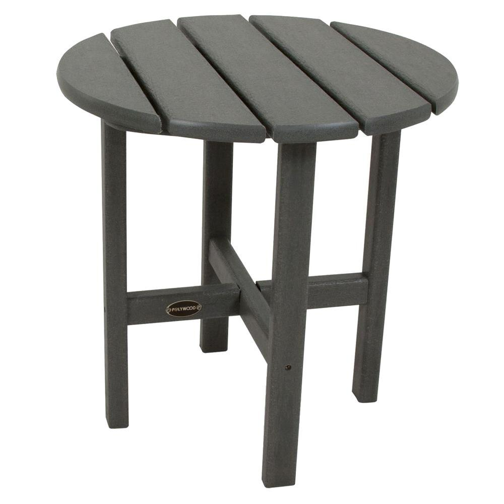 POLYWOOD 18 in. Slate Grey Round Patio Side Table