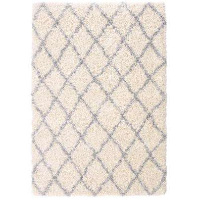 Designera Collection Trellis Design Ivory and Grey 6 ft. 7 in. x 9 ft. 3 in. Shaggy Area Rug