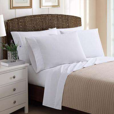 4 Piece Solid White Twin Sheet Sets