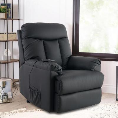 Black Mechanism Lift and Power PU Leather Living Room Heavy Duty Reclining Chair