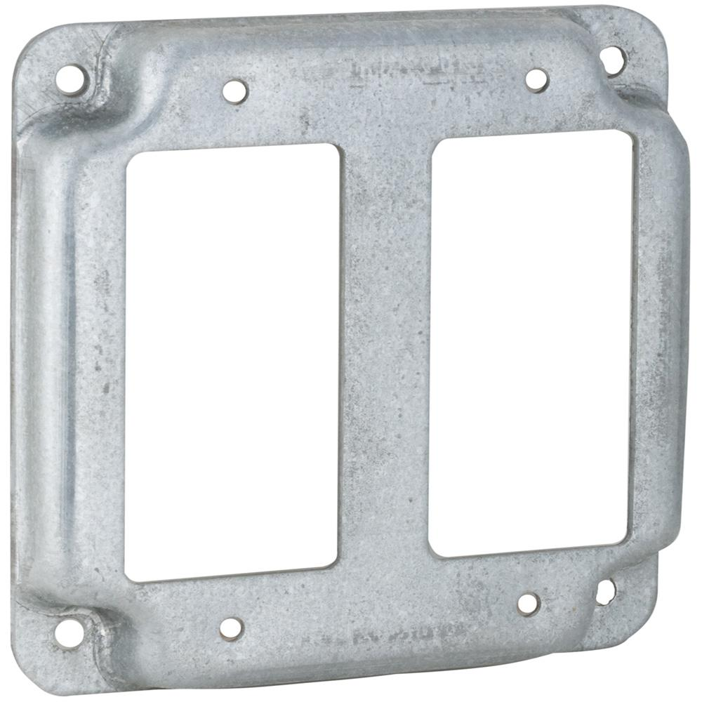 RACO 4 in. Square Exposed Work Cover for Two GFCI Device (10-Pack)