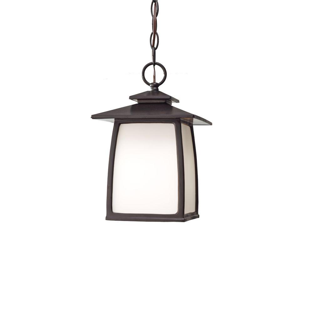 Feiss Wright House 1-Light Oil-Rubbed Bronze Outdoor Hanging Lantern Pendant