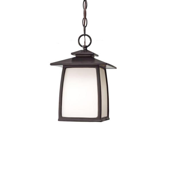 Wright House 1-Light Oil-Rubbed Bronze Outdoor Hanging Lantern Pendant