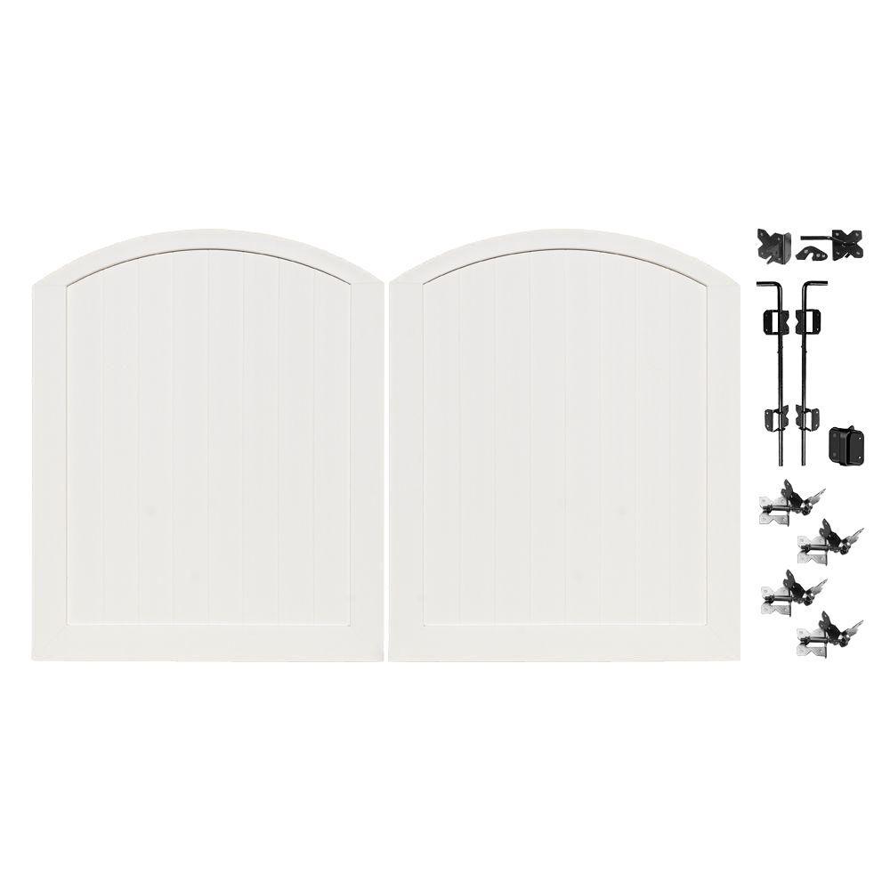 Veranda Pro Series 5 ft. W x 6 ft. H White Vinyl Patio Anaheim Privacy Double Drive Through Arched Fence Gate