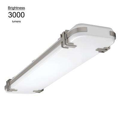 4 ft x 10 in. Mission Style 200 Watt Equivalent Brushed Nickel Integrated LED Flushmount