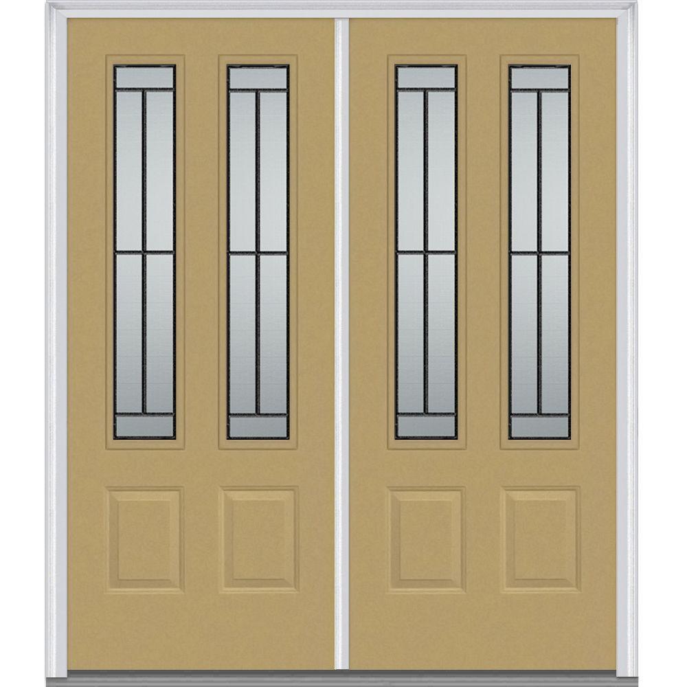 72 in. x 80 in. Madison Right-Hand 2-3/4 Lite 2-Panel Classic Primed Steel Prehung Front Door