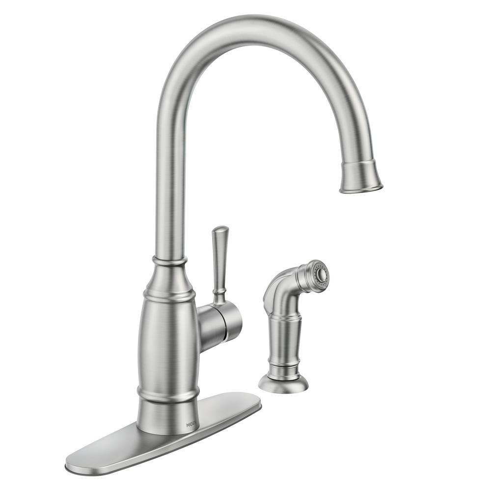 Moen Noell Single Handle Standard Kitchen Faucet With Side Sprayer In Spot Resist Stainless