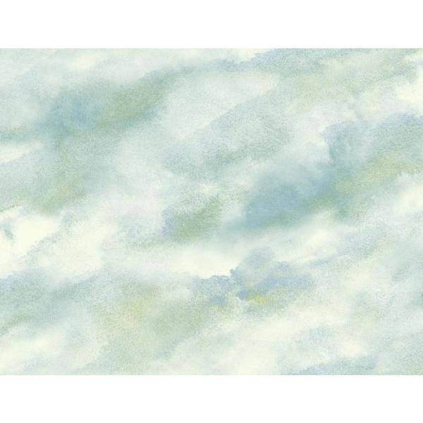 Seabrook Designs Cloudy Metallic Pearl Mint Green And Powder
