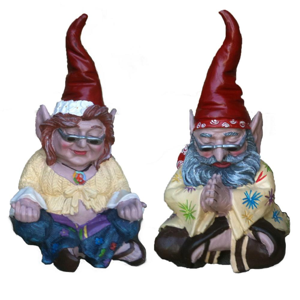 "10 in. H 60's ""Peace Man"" and ""Chick"" Hippie ZEN Gnome"