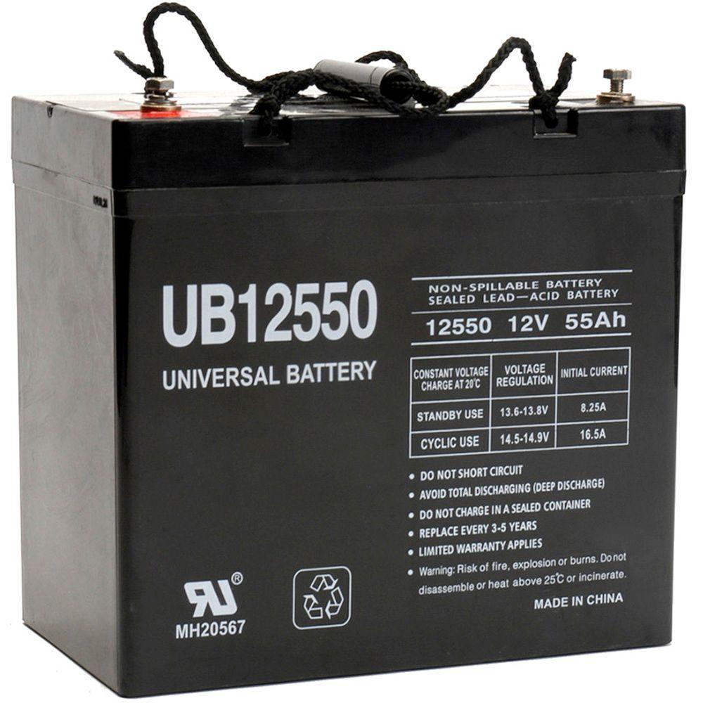 12-Volt 55 Ah (+ on left) I4 Terminal Sealed Lead Acid (SLA) Rechargeable AGM Battery