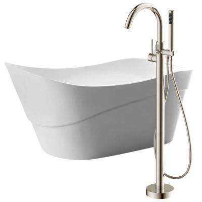 Kahl 67 in. Acrylic Flatbottom Non-Whirlpool Bathtub in White with Kros Faucet in Brushed Nickel