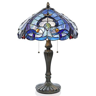 24.25 in. Blue Indoor Table Lamp with Stained Glass Sea Shore Shade