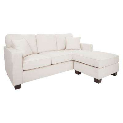 Russell 2-Piece Ivory Polyester L-Shaped Sectional Sofa with Removable Cushions
