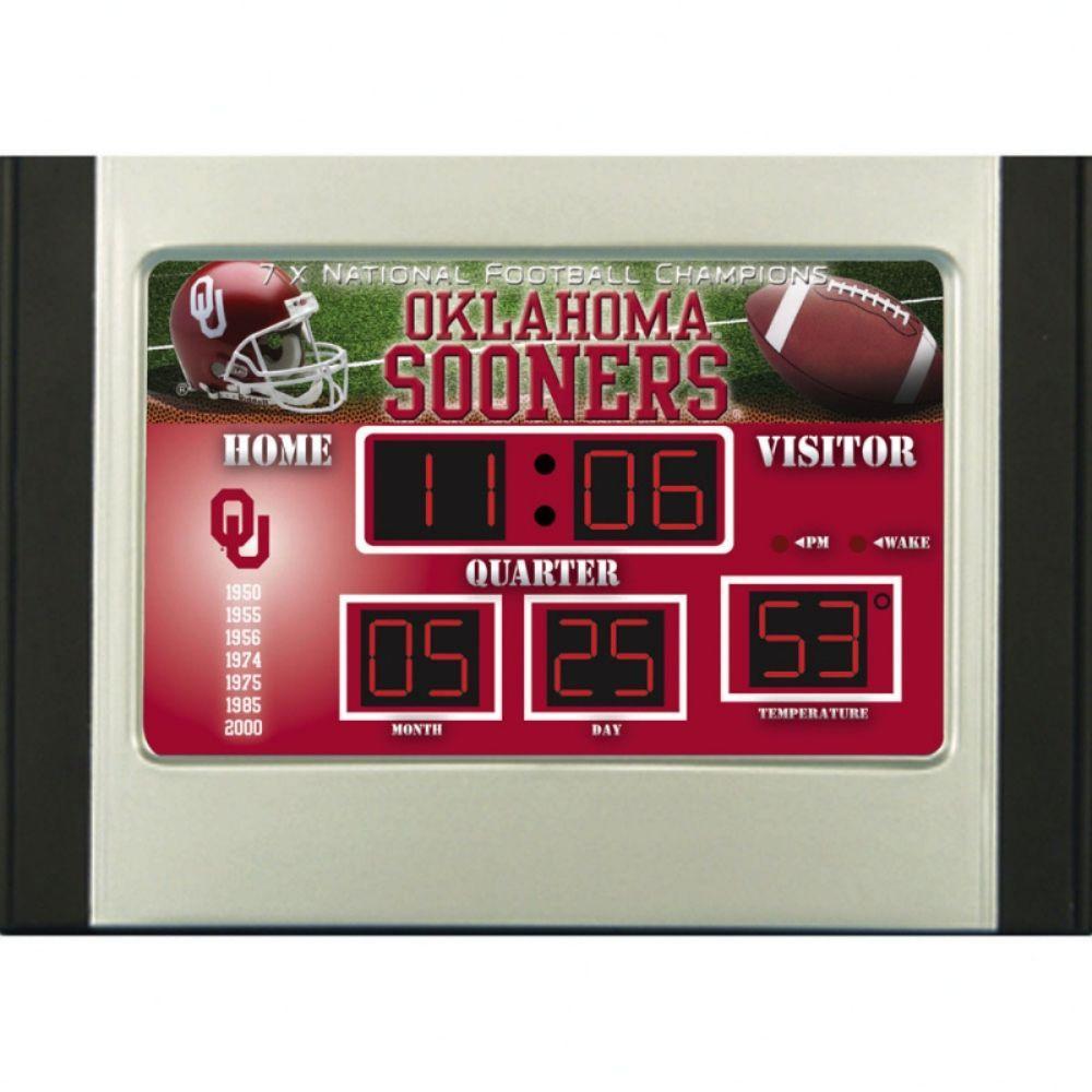 University of Oklahoma 6.5 in. x 9 in. Scoreboard Alarm Clock with Temperature