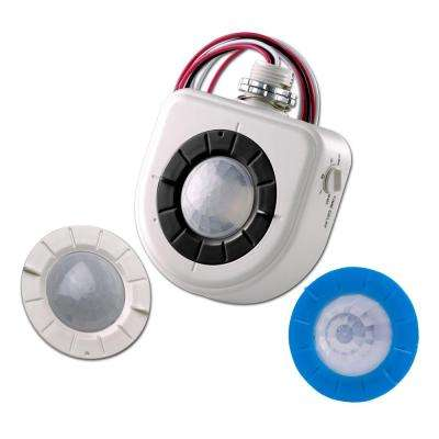 Passive Infrared Fixture Mount High Bay Occupancy Sensor with 2 Interchangeable Lenses, White
