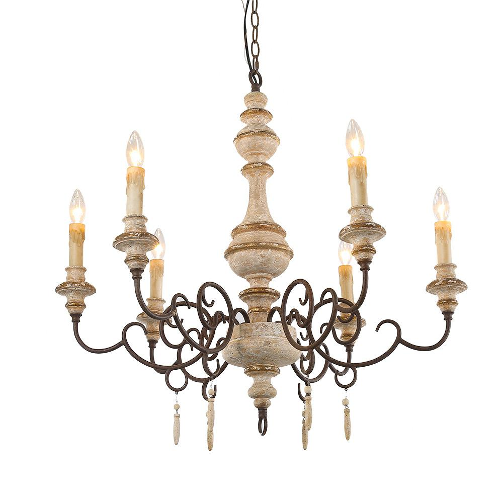 Lnc 6 light distressed white wood french country candle chandelier