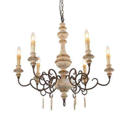 6-Light Distressed White Wood French Country Candle Chandelier