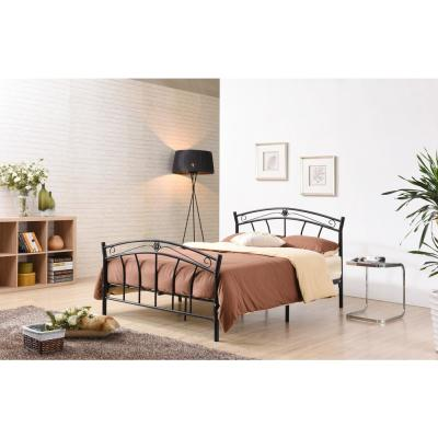 Black Queen-Size Metal Panel Bed with Headboard and Footboard