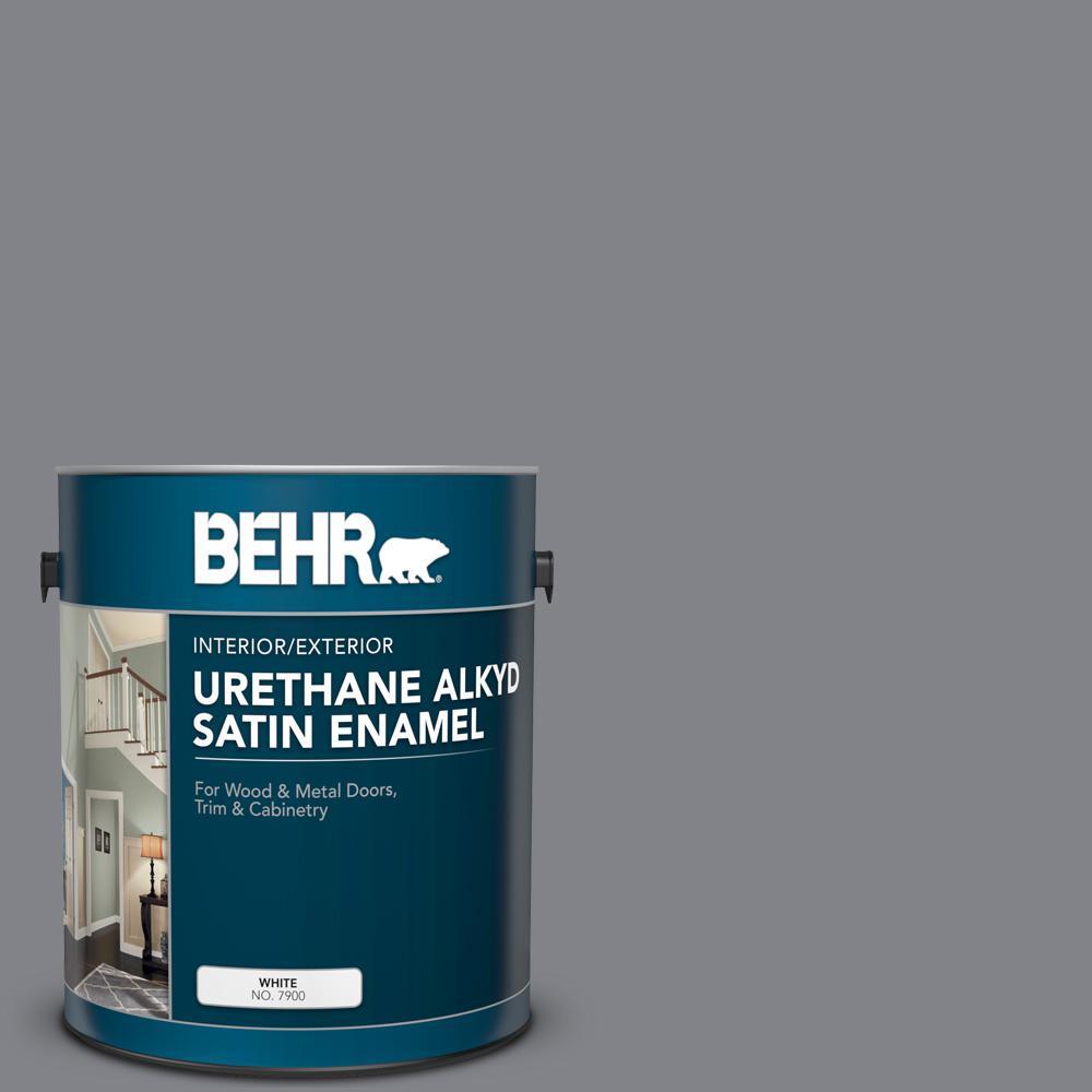 BEHR 1 gal  #AE-52 Rising Smoke Urethane Alkyd Satin Enamel  Interior/Exterior Paint