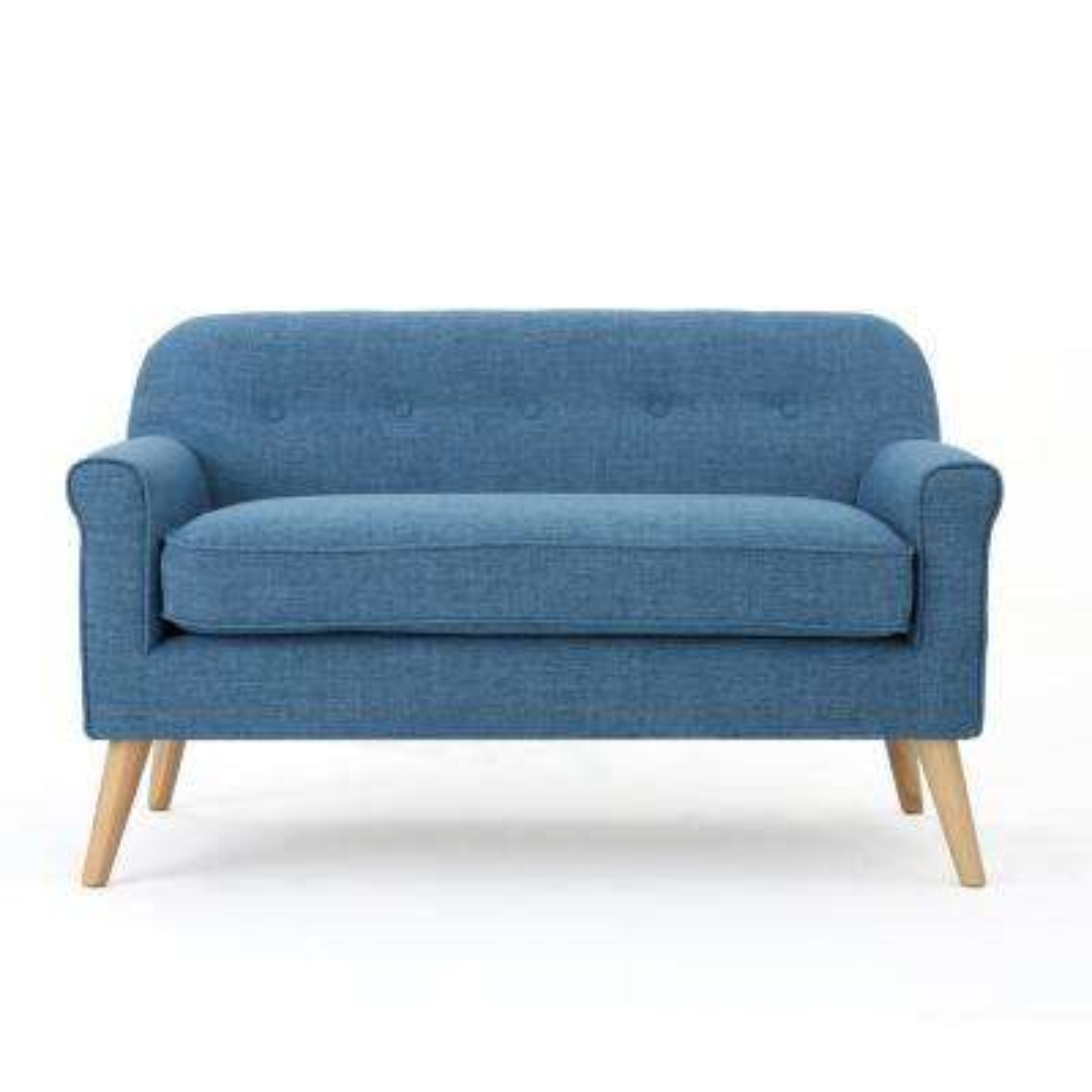 2-Seat Muted Blue Fabric Loveseat