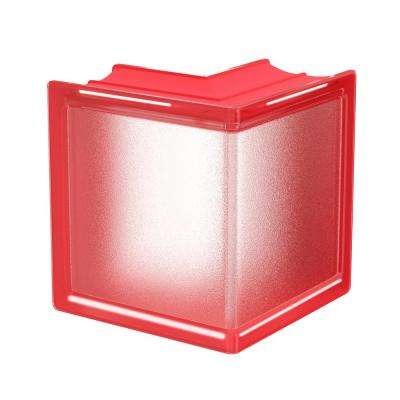 Cherry 5.75 in. x 5.75 in. x 3.15 in. Classic Red Corner Glass Block