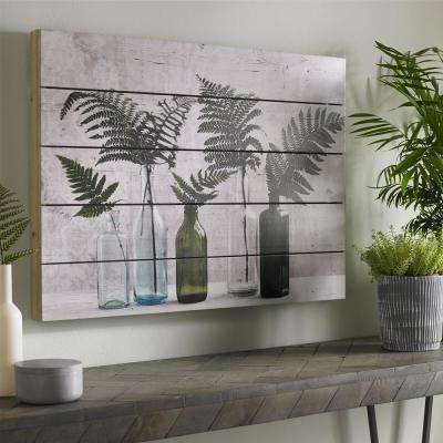 "28 in. x 20 in. ""Botanical Bottles"" Printed Wooden Wall Art"