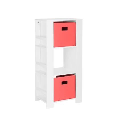 Kids White Cubby Storage Tower with Bookshelves with 2-Piece Coral Bins