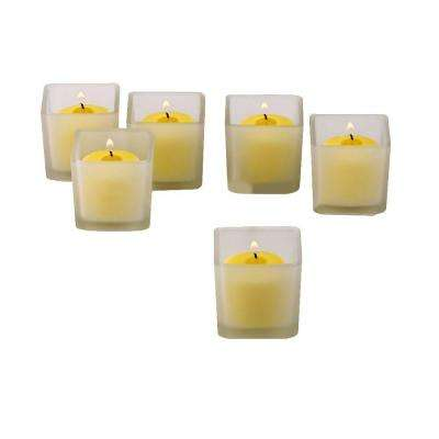 White Frosted Square Votive Candle Holders with Citronella Yellow Votive Candles (Set of 12)