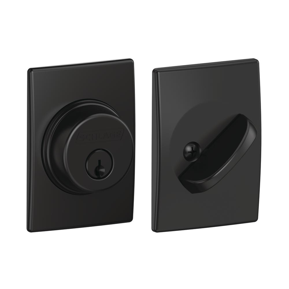 Schlage Century Matte Black Single Cylinder Deadbolt B60 N