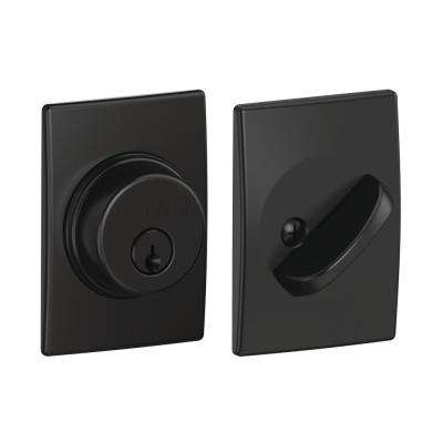 Single Cylinder Matte Black Deadbolt with Century Trim
