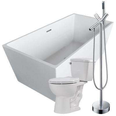 Fjord 66.8 in. Acrylic Flatbottom Non-Whirlpool Bathtub in White with Havasu Faucet and Cavalier 1.28 GPF Toilet