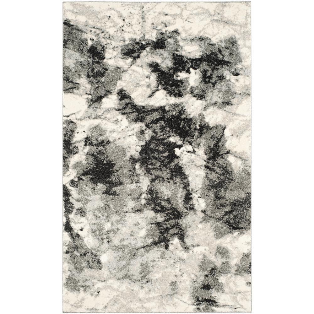 Safavieh Retro Mid Century Modern Abstract Grey Ivory Rug: Safavieh Retro Grey/Ivory 5 Ft. X 8 Ft. Area Rug-RET2891
