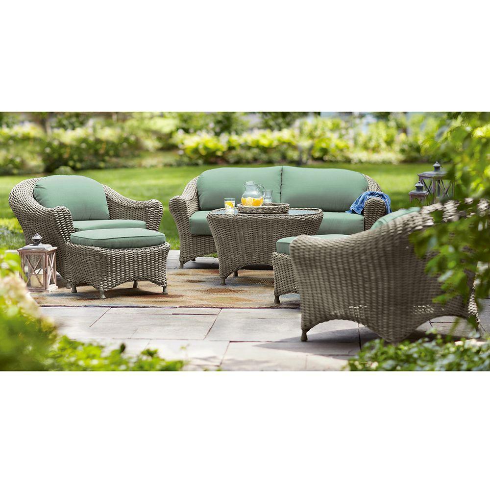 Martha Stewart Living Lake Adela Weathered Grey 6-Piece Patio Seating Set with Surf Cushions