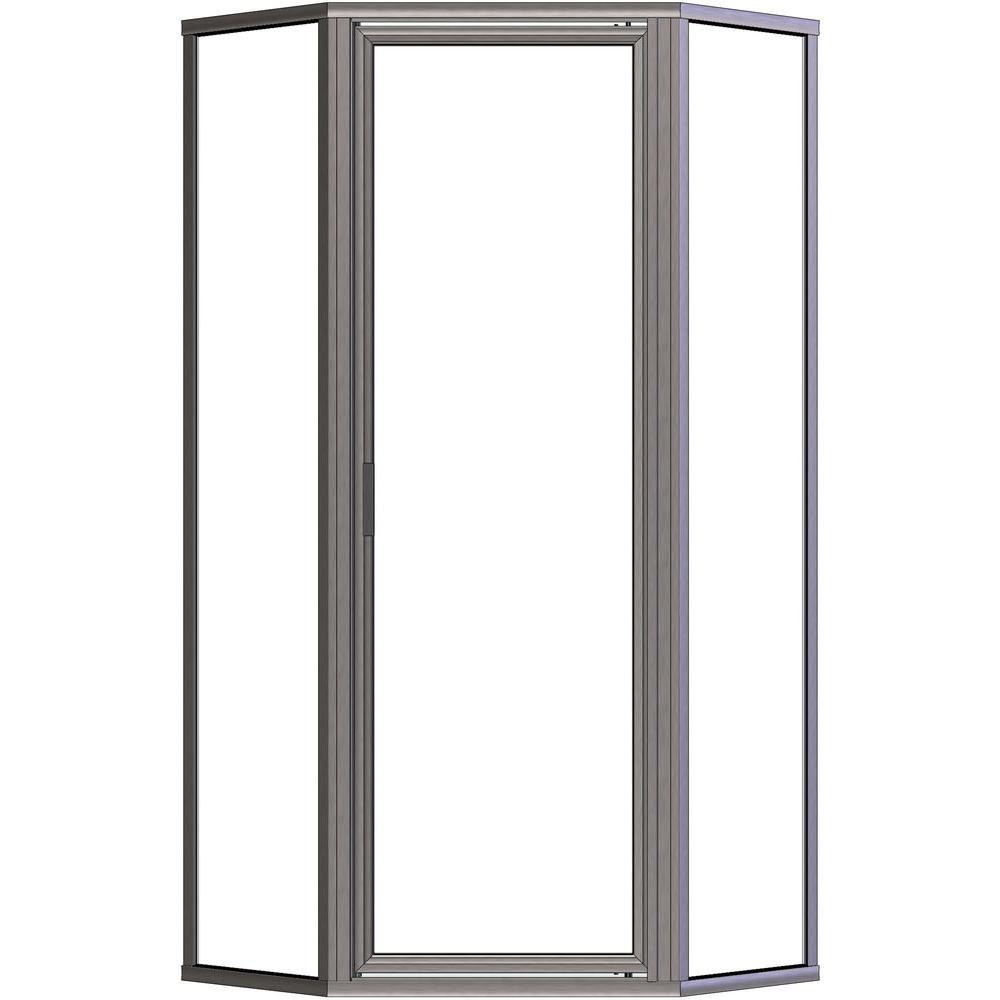 Deluxe 23-7/8 in. x 65-1/8 in. Framed Neo-Angle Shower Door in Brushed Nickel