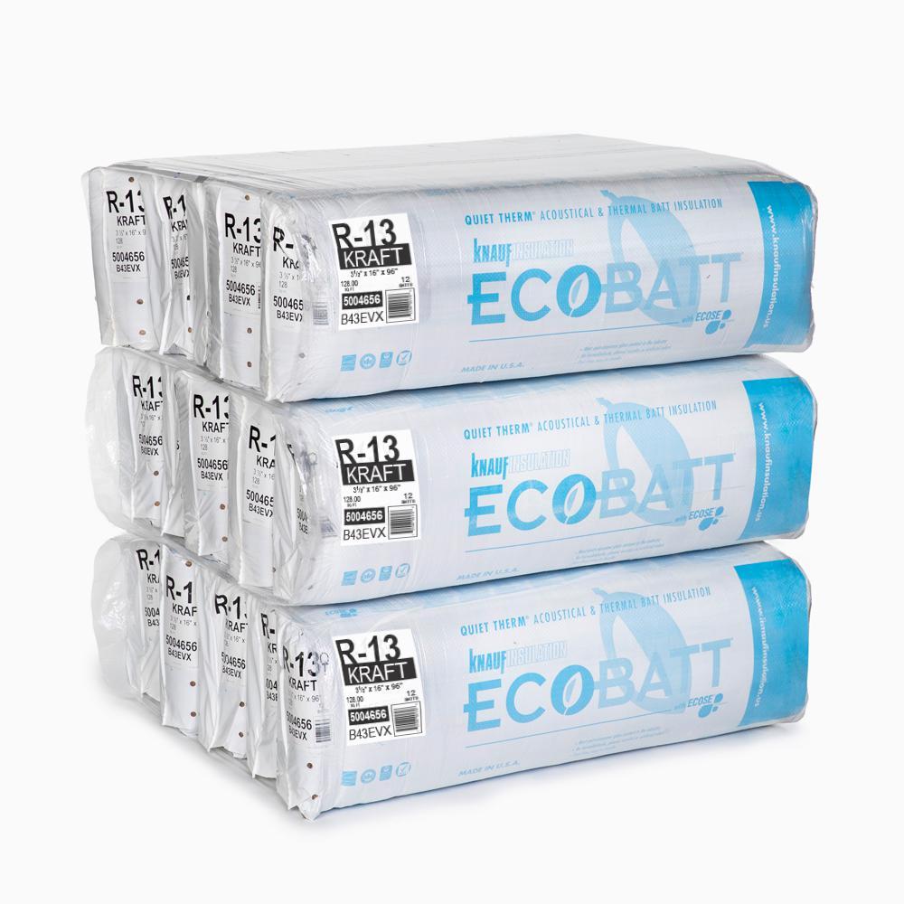 R-13 EcoBatt Kraft-Faced Fiberglass Insulation Batt 3-1/2 in. x 16 in. x 96 in. (15-Bags)