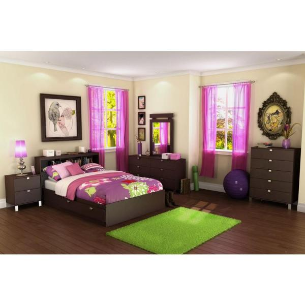 South Shore Spark Full Size Bookcase Headboard In Chocolate