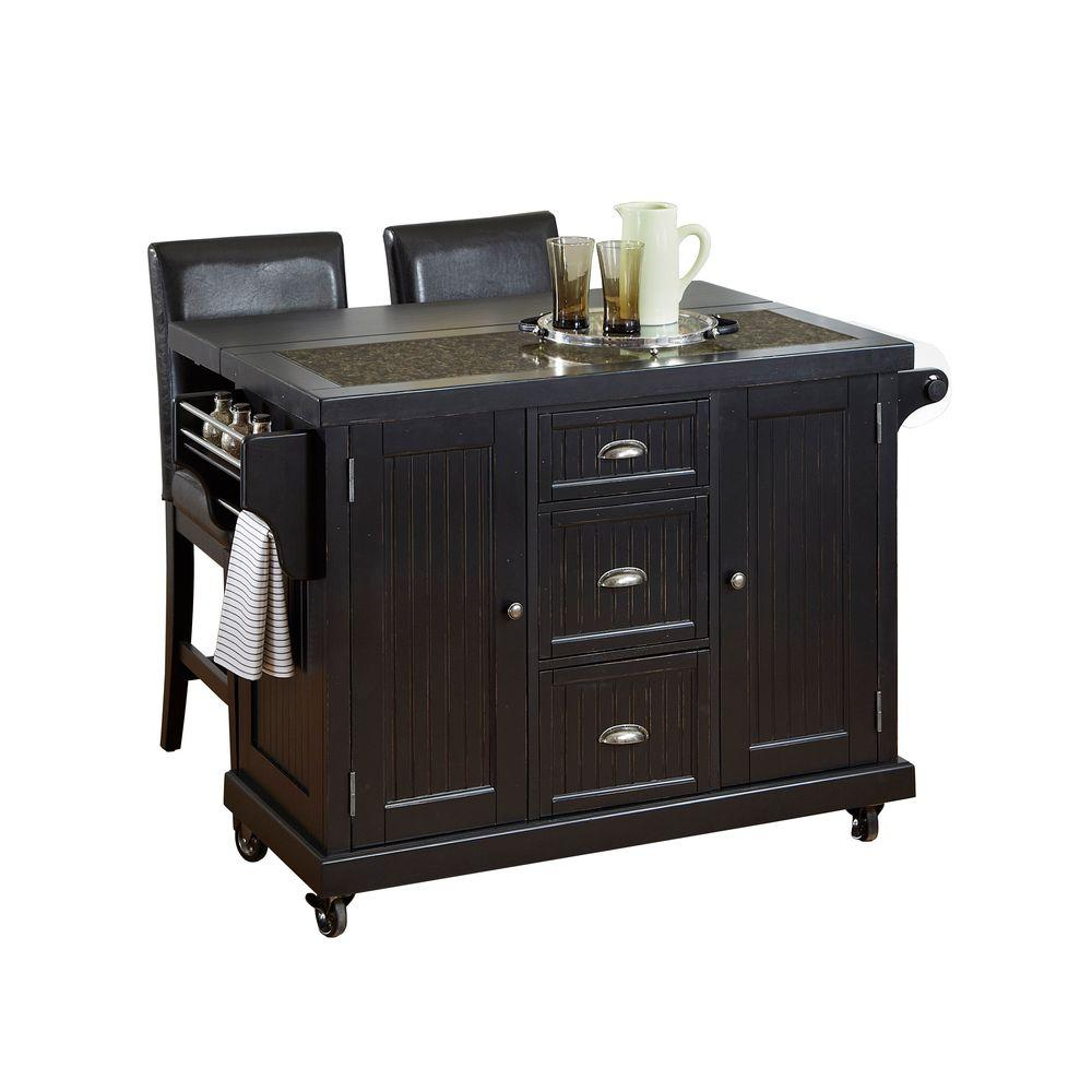 Home Styles 53.5 in. W Granite Top Kitchen Cart with Drop Leaf and Two Stools