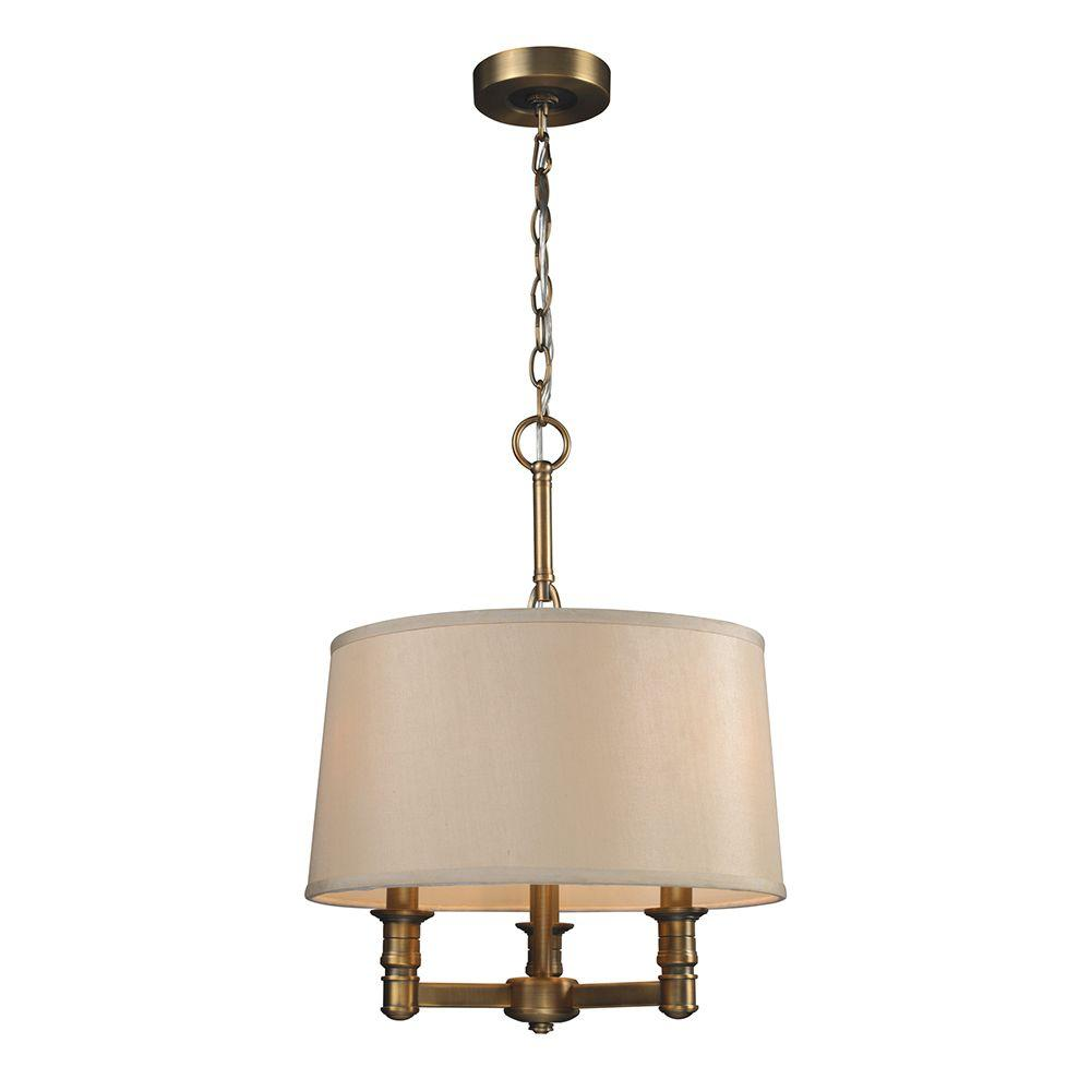 Titan Lighting Baxter 3-Light Brushed Antique Brass Ceiling Chandelier