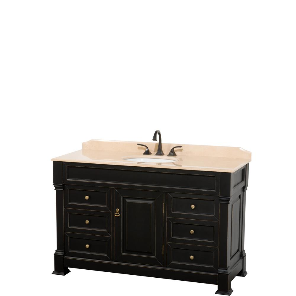 Wyndham Collection Andover 55 in. W x 23 in. D Bath Vanity in Black with Marble Vanity Top in Ivory with White Basin