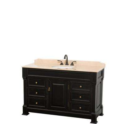 Andover 55 in. W x 23 in. D Bath Vanity in Black with Marble Vanity Top in Ivory with White Basin