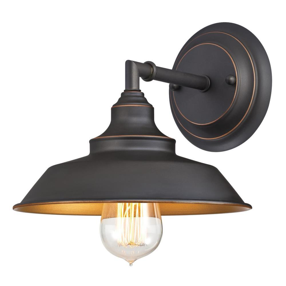 Westinghouse iron hill 1 light oil rubbed bronze wall mount sconce 6344800 the home depot for Bathroom wall sconces oil rubbed bronze