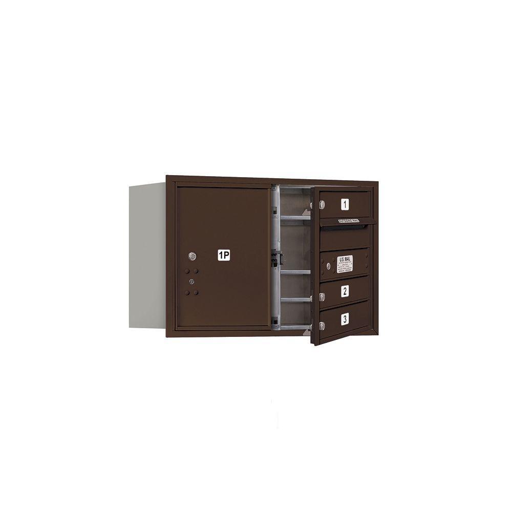 Salsbury Industries 3700 Series 20 in. 5 Door High Unit Bronze USPS Front Loading 4C Horizontal Mailbox with 3 MB1 Doors/1 PL5