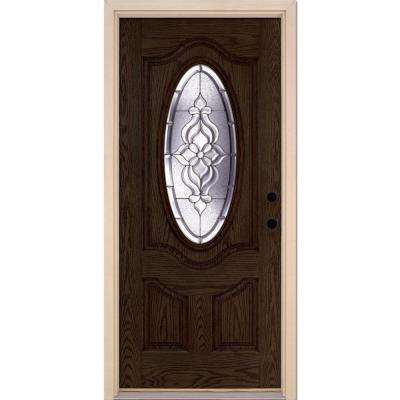 37.5 in. x 81.625 in. Lakewood Zinc 3/4 Oval Lite Stained Walnut Oak Left-Hand Inswing Fiberglass Prehung Front Door