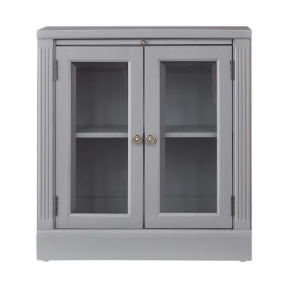 Edinburgh Grey Storage Glass Door Cabinet